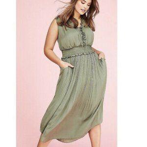 Lane Bryant olive green pleaded ruffle dress